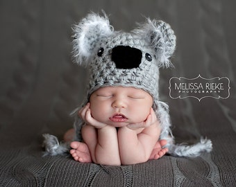 Koala Bear Hat Gray Fuzzy Newborn Photography