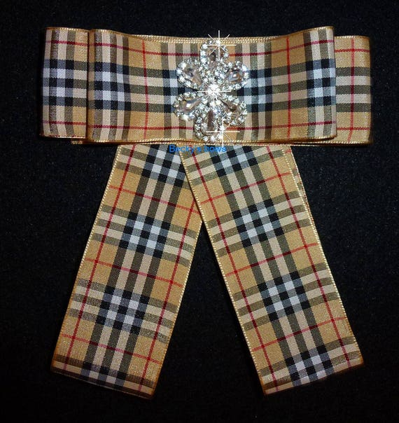 Becky Bows ~ Scottish berry tan red black plaid collar lapel pin bow large neck tie long pinback suit bow