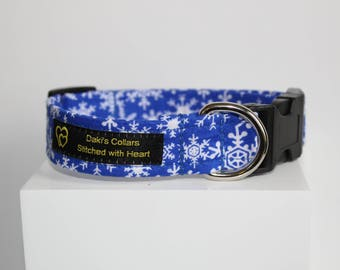 Winters dog collar, Dog collar with snow flakes