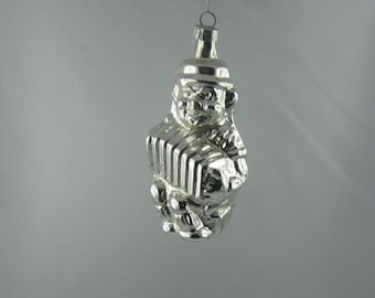 Clown with accordion: Age old, glass Christmas tree ornament / Christmas decoration. Silver Christmas bauble made of glass. VINTAGE