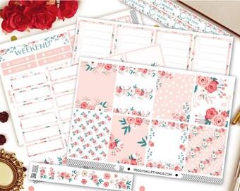 Spring Floral Vertical Kit Planner Stickers | Weekly Kit Stickers | Floral Wreath Stickers