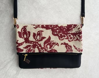 Medium Red Floral Fold-Over Purse