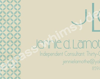 Khaki, Blue Custom Monogram Business Cards