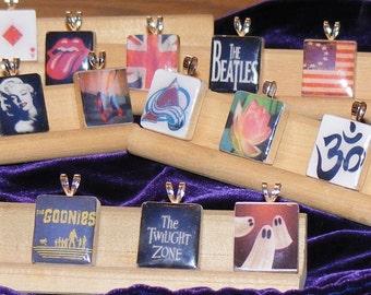 Recycled Scrabble Tile Pendants