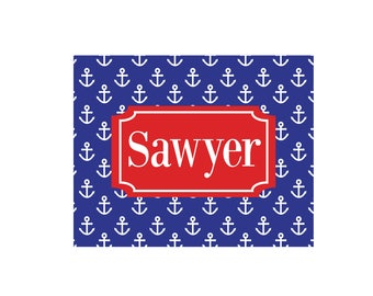 Personalized Anchors Red White Wall Canvas