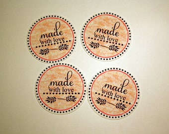 """10 round tags 3.5 cm stickers """"Made with love"""""""