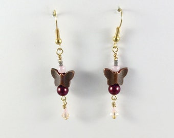 Butterfly Earrings, Copper Butterfly Earrings, Butterfly, Pearl and Crystal Earrings, bridesmaid gift, prom earrings, Valentine's Day gift