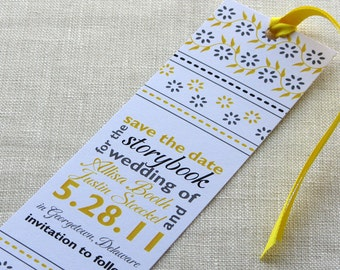 Bookmark Save the Date - Book Theme Wedding - Indian Block Print Typographic - School Theme - Library Theme - Book Lovers - Bibliophile