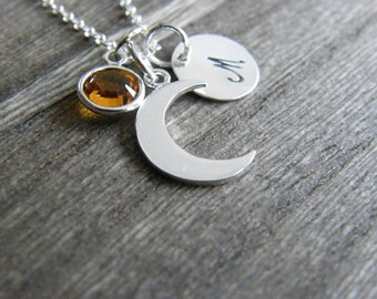 Initial Necklace, Crescent Moon Necklace, Silver Half Moon Necklace, Birthstone Necklace, Personalized Necklace, Personalized Gift for Women