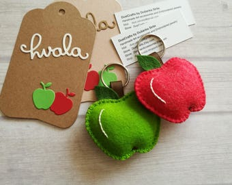 Wool Felt Apple keychain, Apple gift, Best Teacher gift, Teacher's Apple, Red or Green Apple keyring, Apple bag charm, Back to School gift