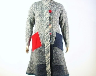 SALE: Reconstructed Sweater Coat/ Duster Coat/Upcycled/Large 14/16/ Heather Grey Tweed