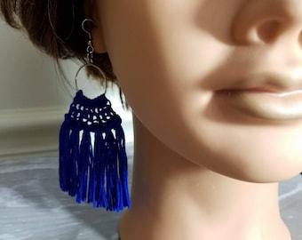 Blue Fringe Hoop Earrings