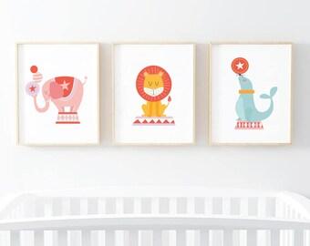 Circus Nursery Prints, Circus Print Set - set of 3