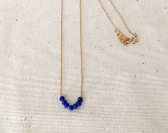 Necklace fine blue beads / / Bell