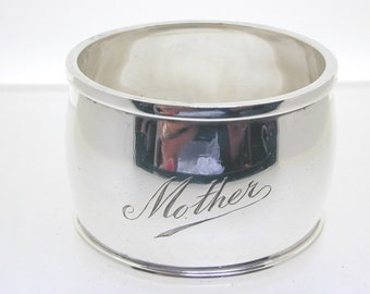 """Sterling silver napkin serviette ring 1930 engraved with """"Mother"""" 29.6 grams"""