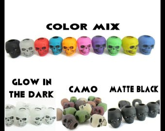 Plastic Skull Beads, Large Hole Beads, Black, Glow in the Dark, Mixed Colors, For Jewelry, Hair, Mardi Gras, Paracord, European, 20 Beads