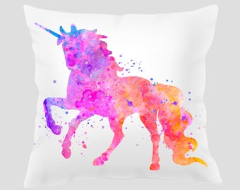Unicorn #2 Throw Pillow, Watercolor Unicorn Pillow, Pillow Cover, Accent Pillow, Nursery Decor, Kids Room Decor