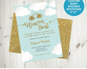 Heaven sent etsy heaven sent baby shower invitation angel theme baby shower invite custom baby shower invitation filmwisefo Image collections