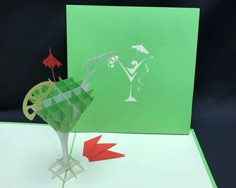 Martini Glass 3-d pop up card