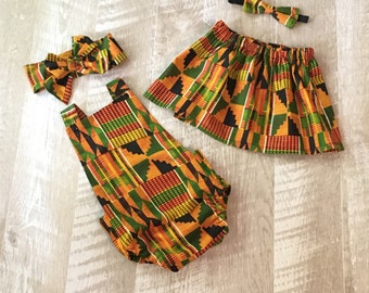 Kente African Big Sister Little Sister Skirt and Romper Set, Kente Skirt, Baby Romper, Girls Headwrap, African Skirt, Girls African Outfit