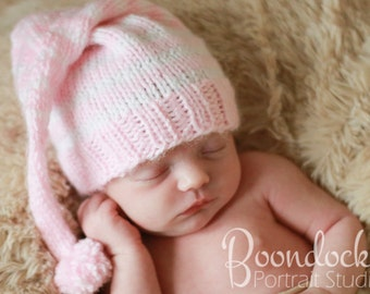 Pink or blue girls hat baby kids Winter beanie infant photo prop accessory