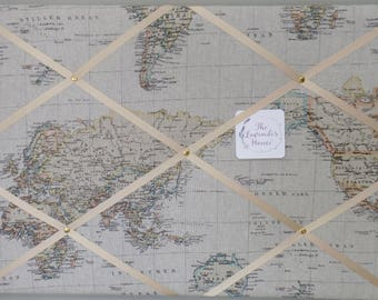 Study noticeboard, Fabric noticeboard, nautical photoboard, memory board, map noticeboard, a gift for him