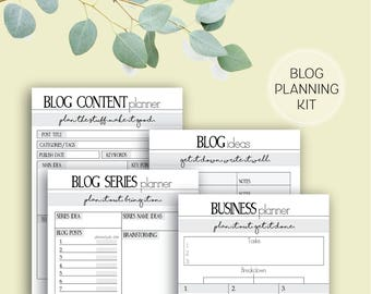 Blogging and Business Printable Planner Pages, Ideas, Series, Post Inspiration Content A4 and A5
