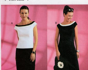 Butterick 3863 Sewing Pattern Free Us Ship Designer Chetta B Contrast Top Skirt Uncut Size 6 8 10 12 14 16 Bust 30 32 34 36 38 Uncut New