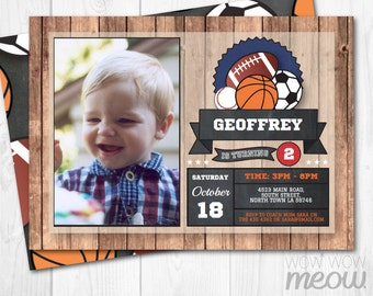 All Star Sports Photo Party Birthday Invite Invitation INSTANT DOWNLOAD Baseball Basketball Soccer Football Personalize Editable Printable