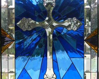 BEVEL CROSS WINDOW Stained Glass Window
