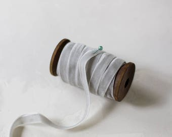 """Light Silver Gray Velvet Ribbon (with Wooden Spool) - 5 yards - 3/8"""" wide"""