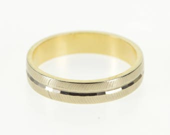 14k Two Tone Grooved Pattern Wedding Band Ring Gold