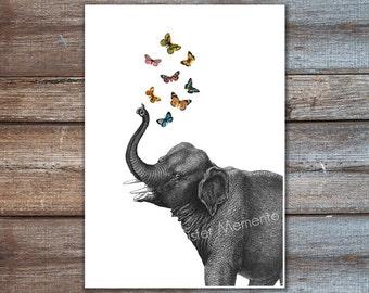 ilustraciones de elefantes poster - digital impresión del arte del elefante - elefante, elefante mariposa