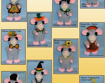 Crochet Mouse Doll OUTFITS Set 4, crochet doll outfits, crochet patterns, crochet outfits
