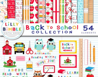 BACK TO SCHOOL Collection of clipart and digital paper, 54 items commercial use, ruler, pencils, crayons, scrapbook
