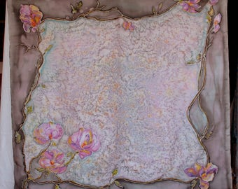 Hand painted silk scarf with flowers