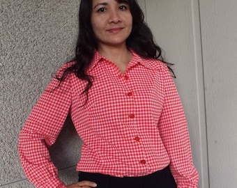 Vintage Red Gingham button up blouse