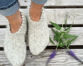 Icelandic wool slippers, warm socks, cozy feet, pale grey, hand knit in Iceland, MADE TO ORDER
