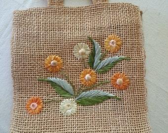 Flower tote, burlap purse, Woven tote, burlap bag, Sixties handbag, Wood Handle Purse, embroidered purse, brown sak