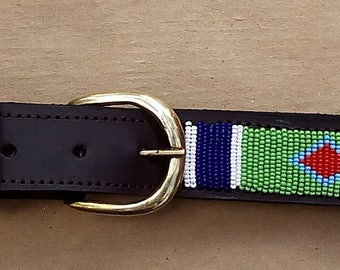 Leather belt, Beaded belt, Handmade belt, Maasai beaded leather belt, African beaded belt, Men belt, Casual belt, Boho belt Gift for him,