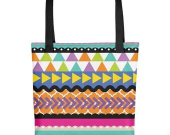 """Bright Craft Stripe 15""""x15"""" Market Book Beach Tote bag"""