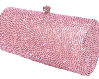 Swarovski ELEMENTS Princess Baby Pink Minaudiere Crystal Metal case rectangle long box clutch Purse bag