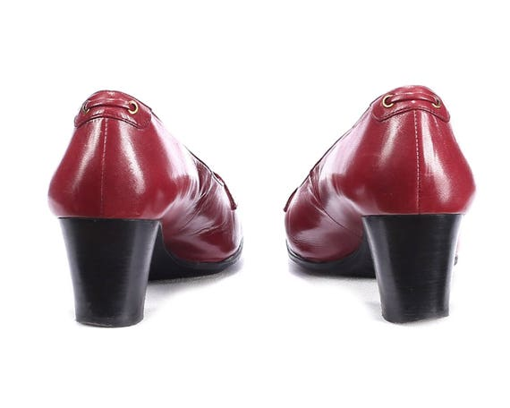 Loafers US size Wide 38 Tassel 5 8 Fit Red EUR 80s Red Shoes Shoes 5 Loafers 5 UK Chunky Flat Vintage Heel Italy Us Leather Heels Burgundy 8 558rFwq6