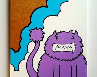 Cheeky Chep Cat - Original Wooden Panel Painting - Purple Version