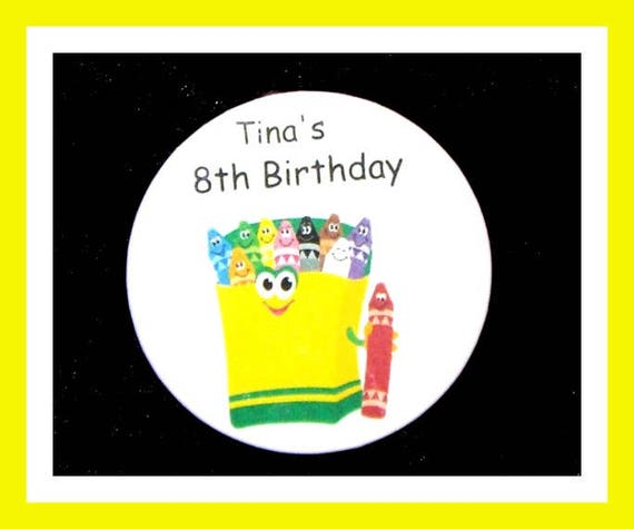 Birthday Party Favors, Personalized Button,Crayon Pin Favor,School Favors,Kids Party Favors,Boy Birthday,Girl Birthday,Pins, Set of 10
