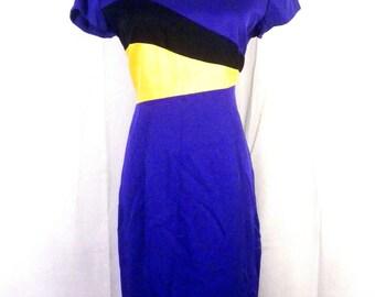 vtg 90s Danny and Nicole COLORBLOCK blue/yellow/black Dress Shift petite 8P