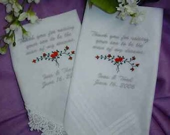 Mother and Father of the Bride or Groom Handkerchief  set personalized   wedding gift