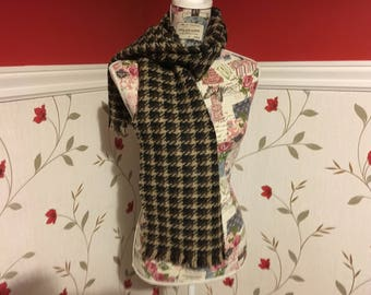 Brown Check Scarf- Mens scarf - Womans - 100% wool - Soft - Unisex scarf