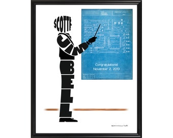 Personalized Male Engineer or Architect Print, Electrical Engineer, Mechanical Engineer, Framed Silhouette, Engineer Gift, Architect Gift