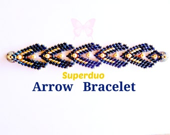 Tutorial Superduo Arrow Bracelet Pattern. Seed Beads Pearls Super Duo Beads Twin Hole Beads. Original Design by Butterfly Bead Kits